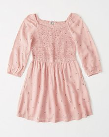 long-sleeve smocked dress, light pink floral patte