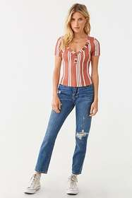 Forever21 Striped Henley Top