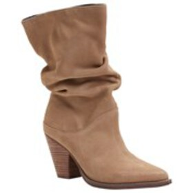 Womens Leather Slouch Block Heel Boots