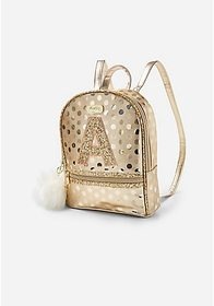 Justice Gold Shine Initial Mini Backpack