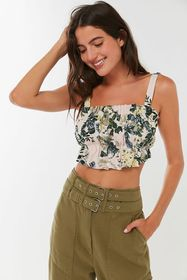 UO Riley Ruffle Tie-Back Cropped Top