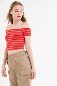 UO Ribbed Off-The-Shoulder Cropped Top
