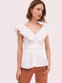 ruffle neck tie waist top
