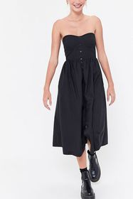 UO Hannah Strapless Button-Front Midi Dress