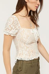 Lioness Catalina Lace Ruffle Cropped Top