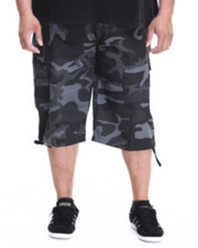 Basic Essentials belted cotton camo cargo shorts (
