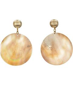 Kenneth Jay Lane Round Wavy Shell Disc Pierced Ear
