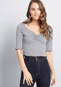ModCloth True to Your Charm Knit Crop Top in Grey