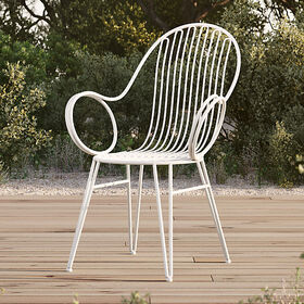 Crate Barrel Scroll White Metal Outdoor Dining Cha