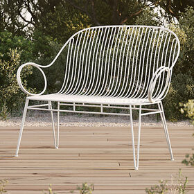 Crate Barrel Scroll White Metal Outdoor Bench