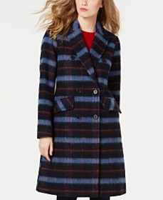 BCBGeneration Double-Breasted Plaid Coat, Created