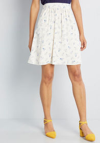 Casual Creativity Pocketed Skirt White Print