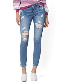 Mid-Rise Super-Skinny Ankle Jeans - Destroyed - Ne
