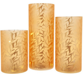 """""""As Is"""" Set/3 Frosted Glass Pillars with Microligh"""