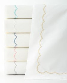 Matouk King Scallops Embroidered Duvet Cover