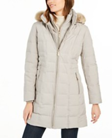 Michael Michael Kors Hooded Faux-Fur-Trim Down Puf