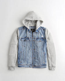 Hollister Hooded Denim Jacket, LIGHT WASH
