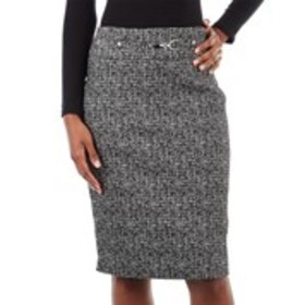 Tweed Pencil Skirt with Metal Toggle