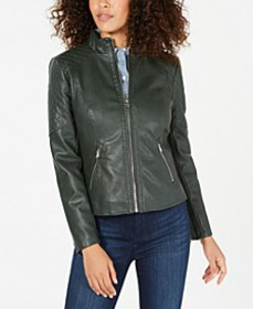GUESS Front Zip Faux-Leather Jacket, Created for M