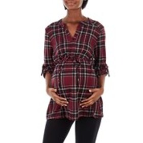 OLIVIA BLU MATERNITY Plaid V-Neck Tie-Waist Tunic
