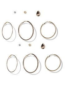 6-Piece Goldtone Post & Hoop Earring Set - New Yor