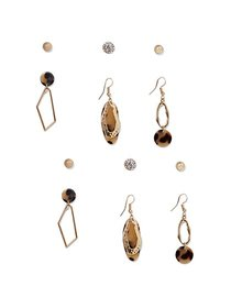 6-Piece Goldtone Post & Drop Earring Set - New Yor