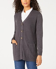 Karen Scott Mixed-Stitch Button-Front Cardigan, Cr