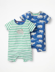 Boden Twin Pack Hippo Rompers