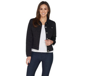 """""""As Is"""" Susan Graver Stretch Twill Button Front Ja"""