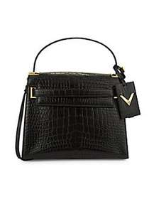 Valentino Garavani Textured Alligator Shoulder Bag