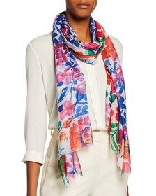 Neiman Marcus Abstract Floral Scarf