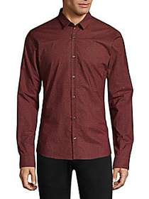 HUGO Numeric Woven Button-Down Shirt RED