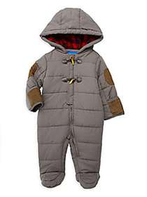 Perry Ellis Baby Boy's Quilted Toggle Hooded Footi