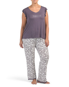 BEBE Plus Logo Animal Printed Pj Set
