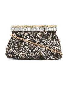 NINA Crystal Clapee Brocade Frame Bag
