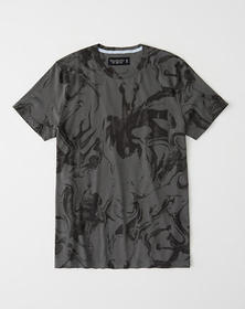 Wash Effect Tee, DARK GREY MARBLE PATTERN