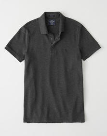Concealed Placket Polo, DARK HEATHER GREY