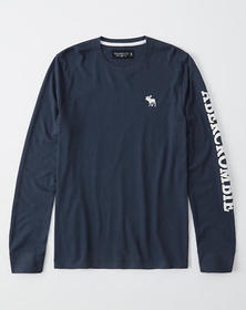 Long-Sleeve Logo Crew Tee, NAVY BLUE