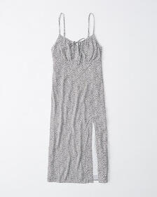 Ruched Cami Midi Dress, RED DOT