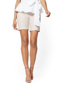 8 Inch Whitney Bermuda Short - Tan High-Waisted Pu
