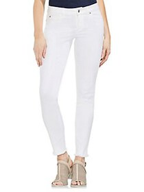 Vince Camuto Frayed Cuff Skinny Jeans ULTRA WHITE