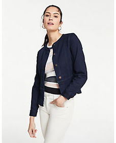Petite Performance Stretch Denim Peplum Jacket