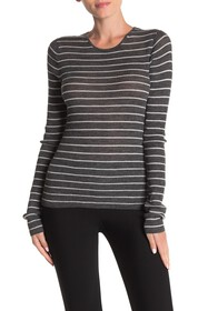 Vince Striped Ribbed Crew Neck Shirt