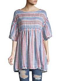 Free People Summer Nights Striped Top BLUE