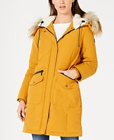 French Connection Hooded Faux-Fur-Trim Down Parka,