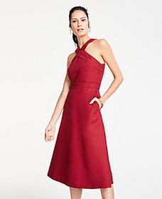 Tall Halter Midi Flare Dress