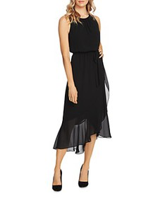 VINCE CAMUTO - Ruffle Belted Midi Dress - 100% Exc