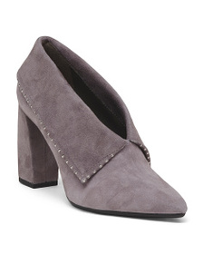 AEROSOLES Folded Suede Booties With Embellishments