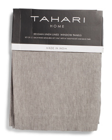 TAHARI HOME 50x84 Set Of 2 Solid Linen Curtains