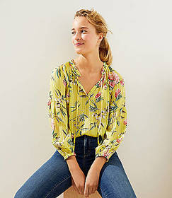 Floral Pleated Tie Neck Blouse